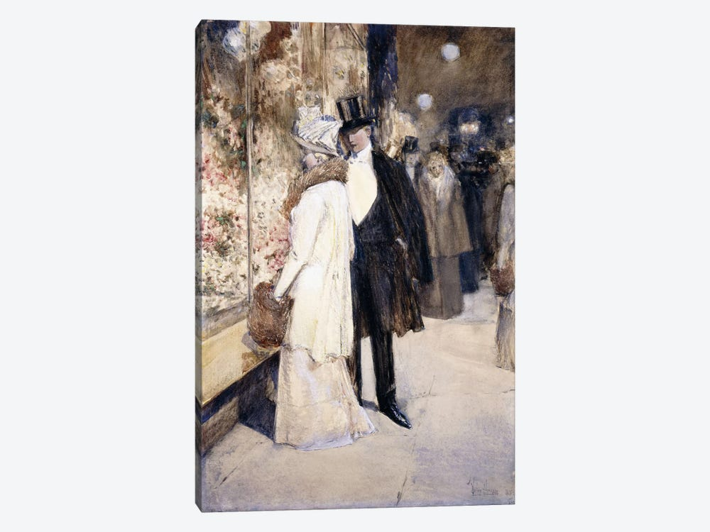 A New Year's Nocturne, New York, 1892  by Childe Hassam 1-piece Canvas Artwork