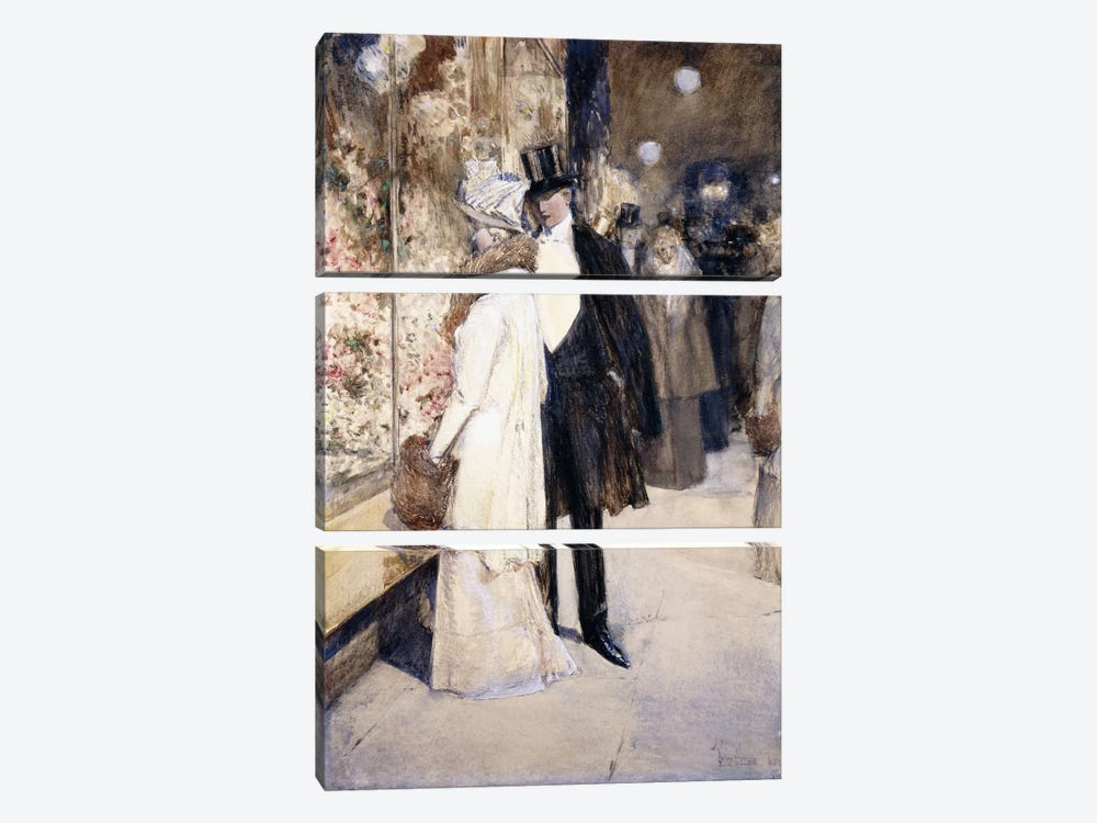 A New Year's Nocturne, New York, 1892  by Childe Hassam 3-piece Canvas Artwork