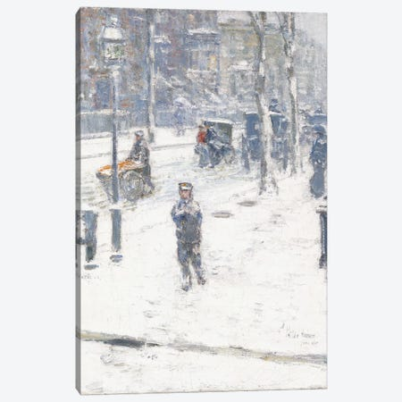 Snow Storm, Fifth Avenue, New York, 1907  Canvas Print #BMN5995} by Childe Hassam Canvas Wall Art