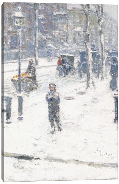 Snow Storm, Fifth Avenue, New York, 1907  Canvas Art Print