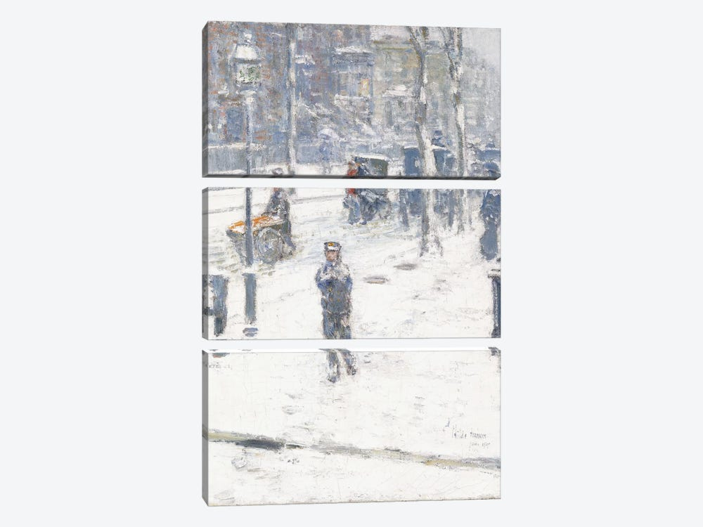 Snow Storm, Fifth Avenue, New York, 1907  by Childe Hassam 3-piece Canvas Print