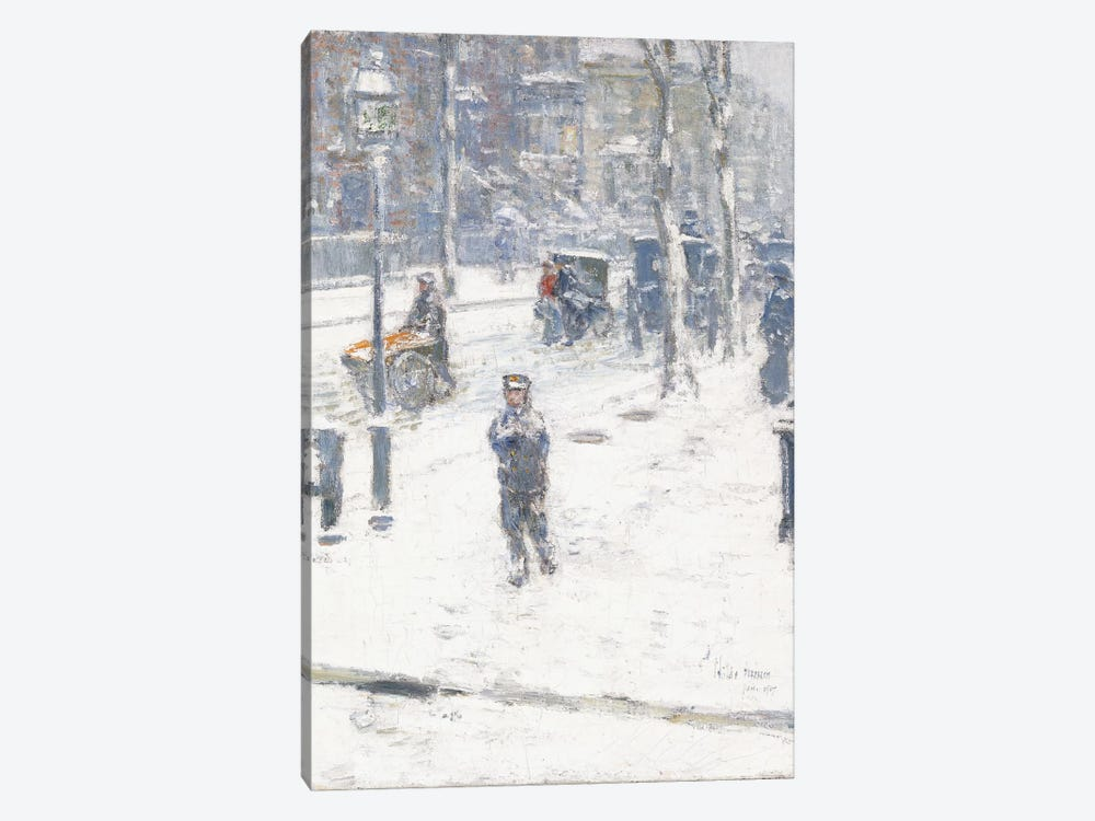 Snow Storm, Fifth Avenue, New York, 1907  by Childe Hassam 1-piece Canvas Art Print