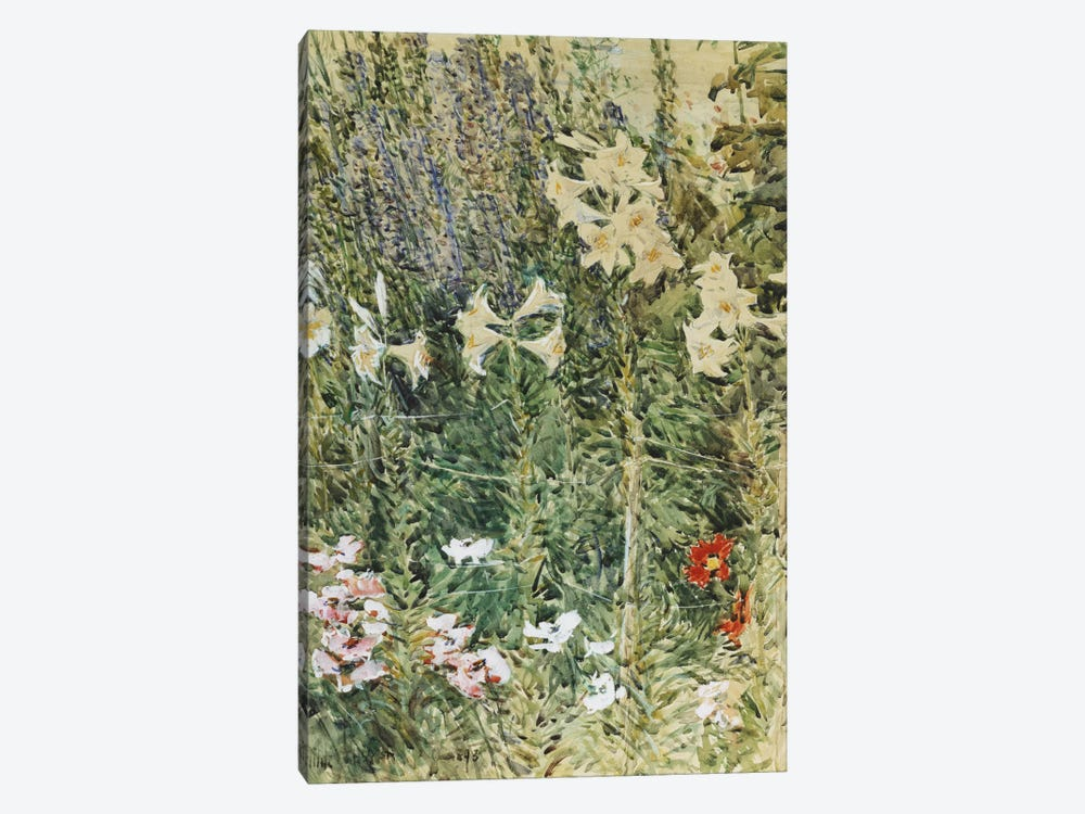 Larkspurs and Lillies, c. 1894  by Childe Hassam 1-piece Canvas Art Print