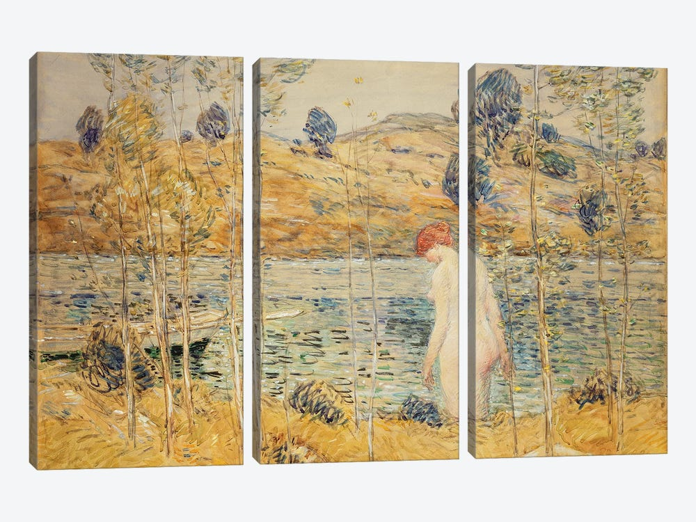 The River Bank, 1906  by Childe Hassam 3-piece Art Print
