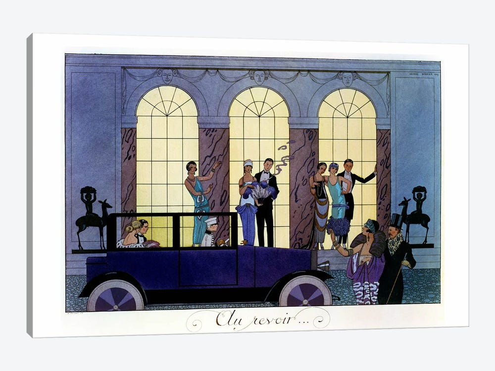 Farewell, engraved by Henri Reidel, 1920 (litho) by Georges Barbier 1-piece Canvas Print