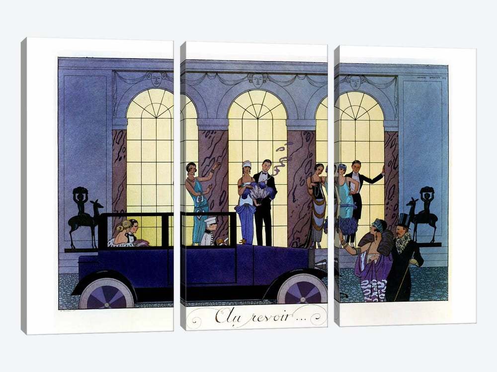 Farewell, engraved by Henri Reidel, 1920 (litho) by George Barbier 3-piece Canvas Art Print