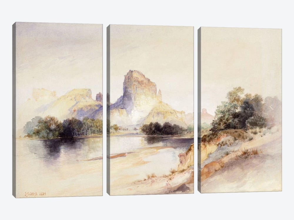 Castle Butte, Green River, Wyoming, 1894 by Thomas Moran 3-piece Canvas Artwork