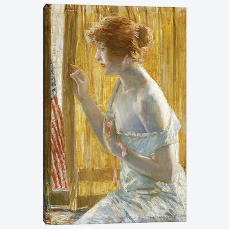Boys Marching By, 1918  3-Piece Canvas #BMN6004} by Childe Hassam Canvas Art