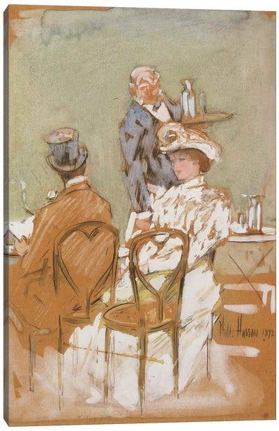 Outside the Cafe on the Grand Boulevard, 1898  Canvas Art Print