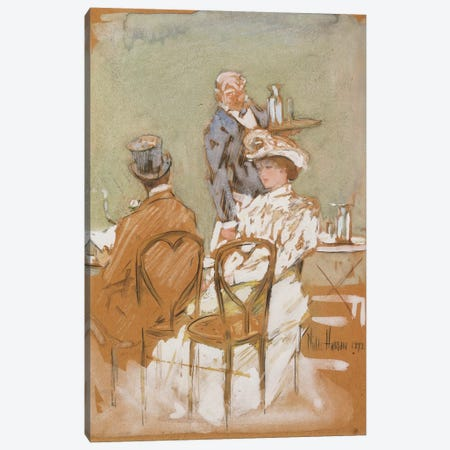 Outside the Cafe on the Grand Boulevard, 1898  Canvas Print #BMN6012} by Childe Hassam Canvas Artwork