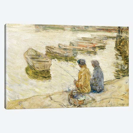 Fishing, 1896  3-Piece Canvas #BMN6014} by Childe Hassam Canvas Print