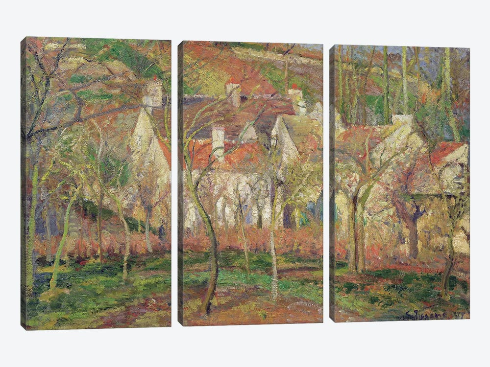 The Red Roofs, or Corner of a Village, Winter, 1877  by Camille Pissarro 3-piece Canvas Art Print