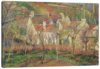 The Red Roofs, or Corner of a Village, Winter, 1877  Canvas Art Print