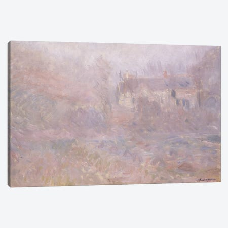 Houses at Falaise in the Fog, 1885  Canvas Print #BMN6032} by Claude Monet Canvas Artwork