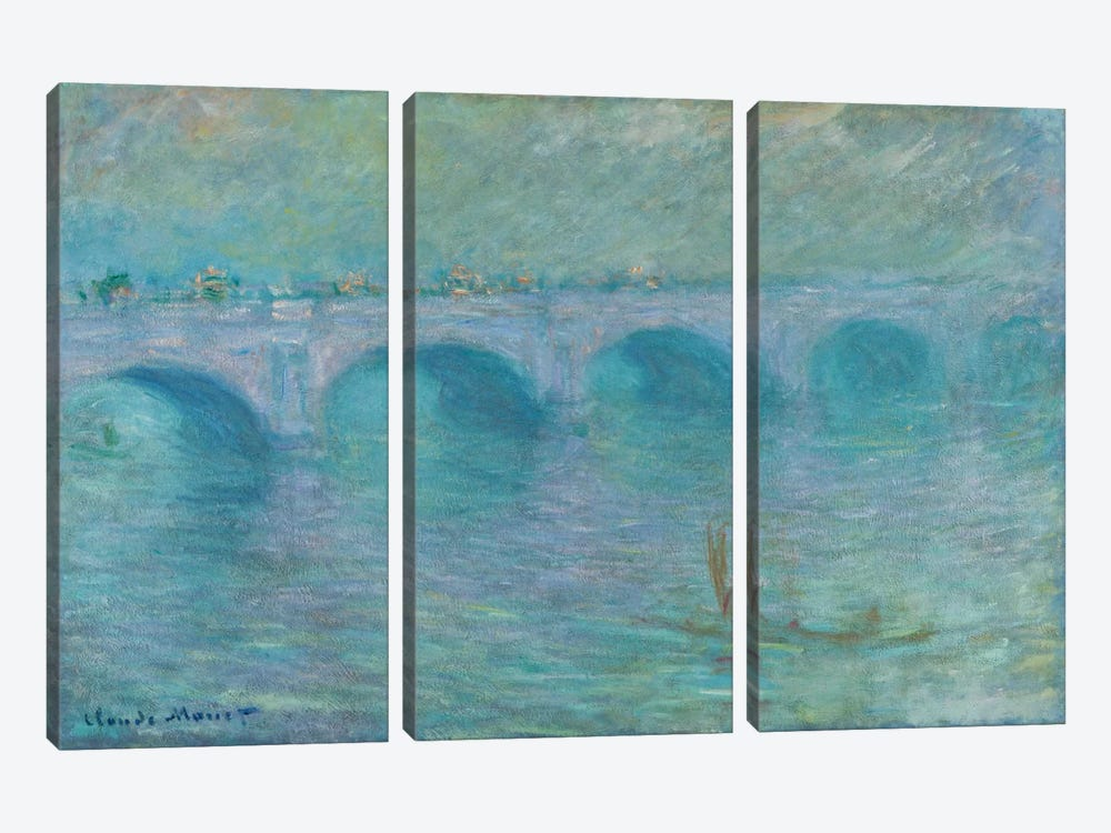 Waterloo Bridge in the Fog, 1903 by Claude Monet 3-piece Art Print