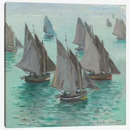 Fishing Boats, Calm Sea, 1868  Canvas Print #BMN6034} by Claude Monet Art Print
