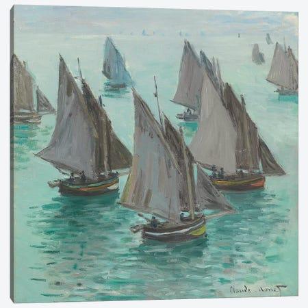 Fishing Boats, Calm Sea, 1868  Canvas Print #BMN6034} by Claude Monet Art Print