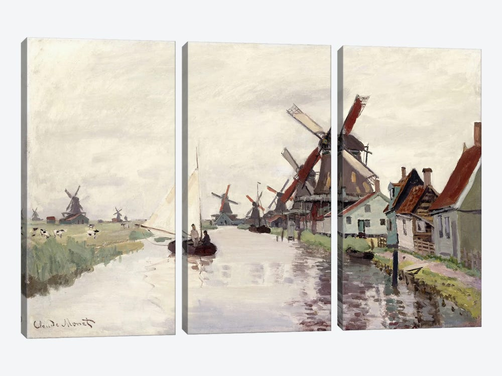 Windmill in Holland, 1871 by Claude Monet 3-piece Canvas Print