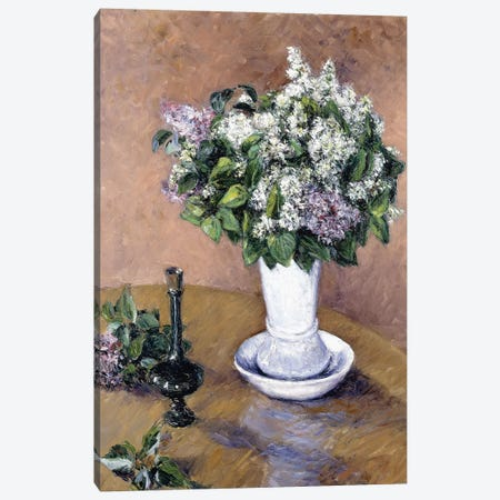 Still Life with a Vase of Lilac, 1883  Canvas Print #BMN6039} by Gustave Caillebotte Canvas Artwork