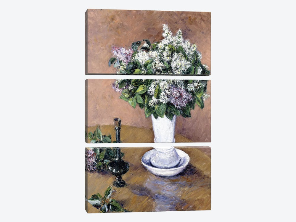Still Life with a Vase of Lilac, 1883  by Gustave Caillebotte 3-piece Canvas Art Print