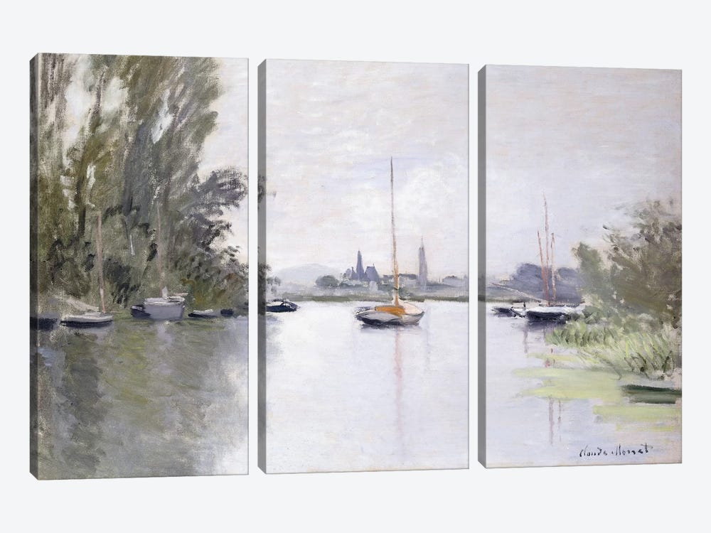 Argenteuil Seen from the Small Arm of the Seine, 1872  by Claude Monet 3-piece Canvas Art Print
