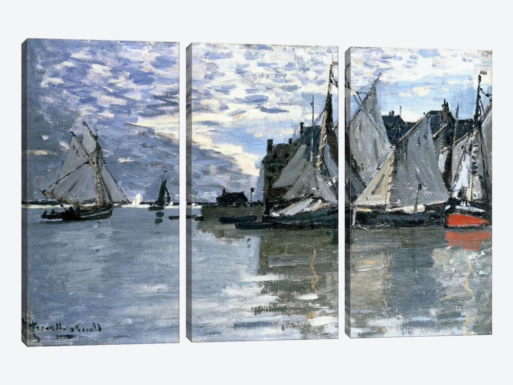 Sailing Boats, c.1864-1866  by Claude Monet 3-piece Canvas Wall Art