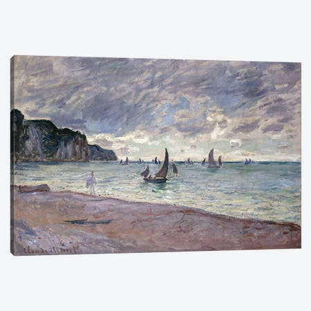 Fishing Boats in front of the Beach and Cliffs of Pourville, 1882  3-Piece Canvas #BMN6043} by Claude Monet Canvas Print