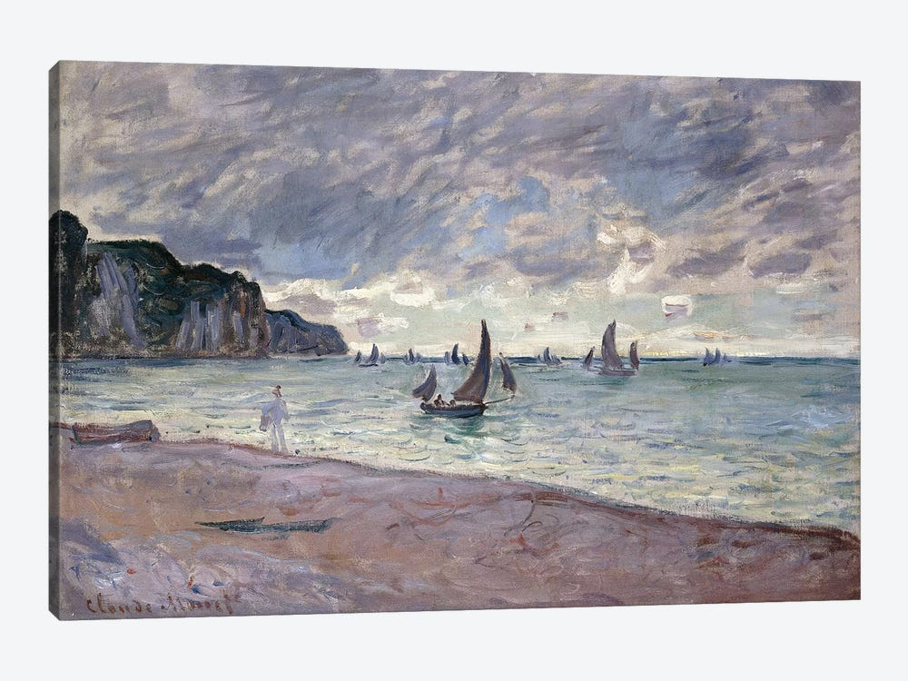 Fishing Boats in front of the Beach and Cliffs of Pourville, 1882  by Claude Monet 1-piece Canvas Wall Art