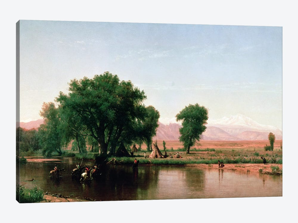 Crossing the Ford, Platte River, Colorado  by Thomas Worthington Whittredge 1-piece Canvas Art Print