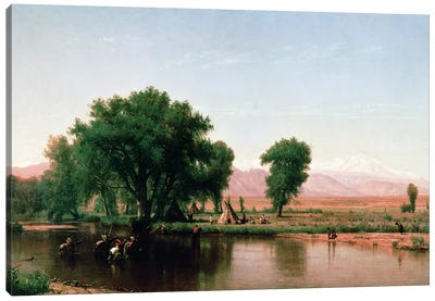 Crossing the Ford, Platte River, Colorado  Canvas Art Print