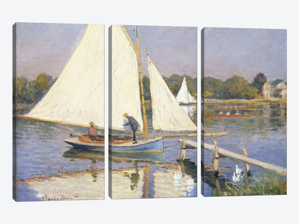 Boaters at Argenteuil, 1874 by Claude Monet 3-piece Canvas Artwork