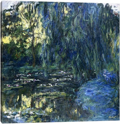 View of the Lilypond with Willow, c.1917-1919  Canvas Art Print