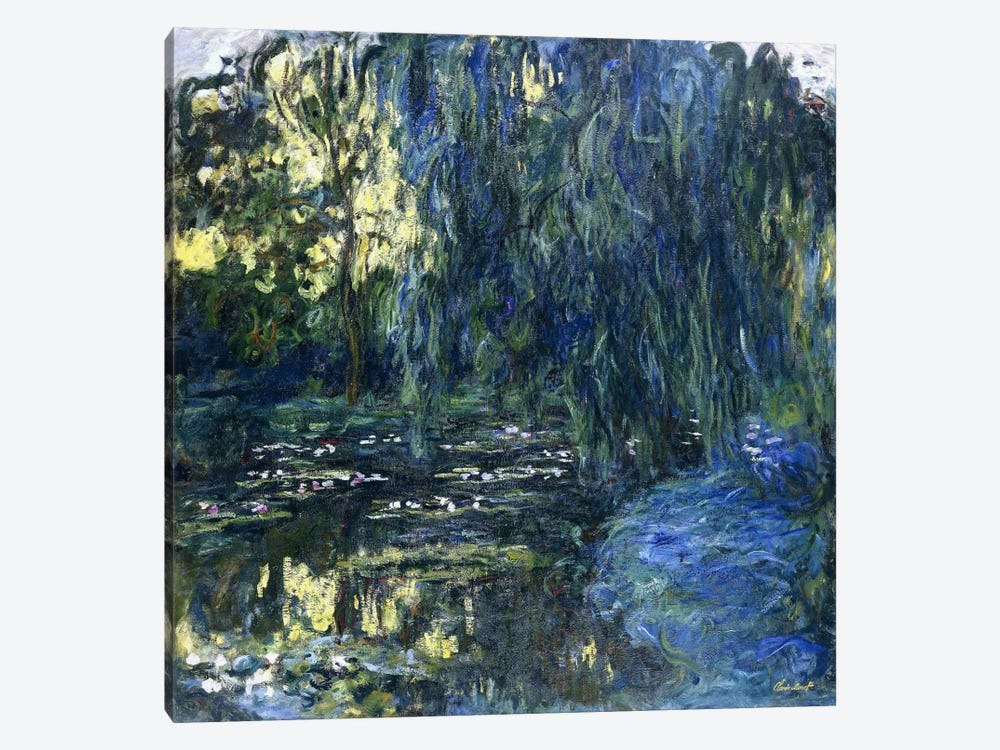 View of the Lilypond with Willow, c.1917-1919  by Claude Monet 1-piece Canvas Art