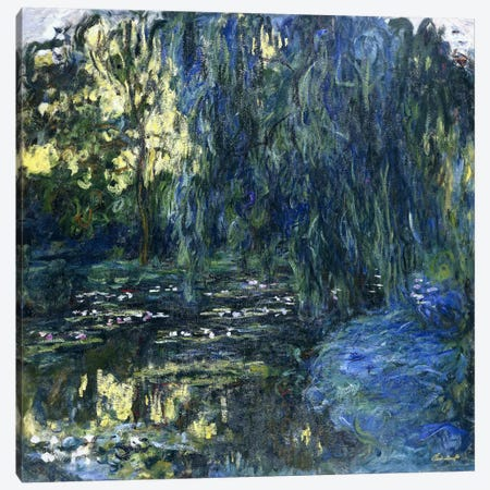 View of the Lilypond with Willow, c.1917-1919  Canvas Print #BMN6052} by Claude Monet Canvas Art