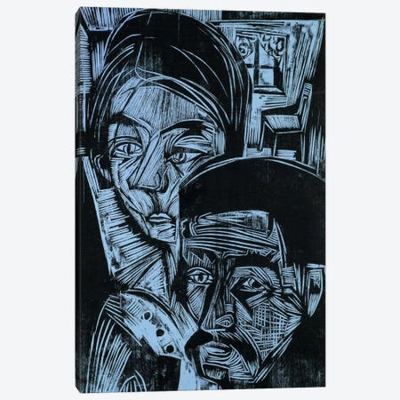 Peasant Couple in the Cottage, 1919  Canvas Print #BMN6057} by Ernst Ludwig Kirchner Art Print