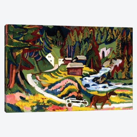 Landscape in Spring, Sertig, 1924-25  Canvas Print #BMN6062} by Ernst Ludwig Kirchner Canvas Art Print