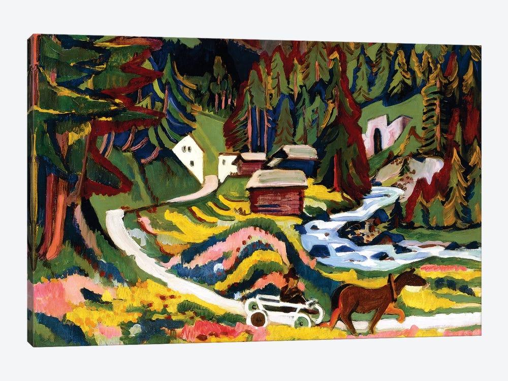 Landscape in Spring, Sertig, 1924-25  by Ernst Ludwig Kirchner 1-piece Canvas Print