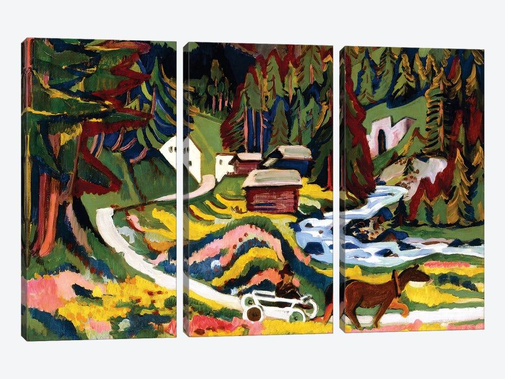 Landscape in Spring, Sertig, 1924-25  by Ernst Ludwig Kirchner 3-piece Art Print