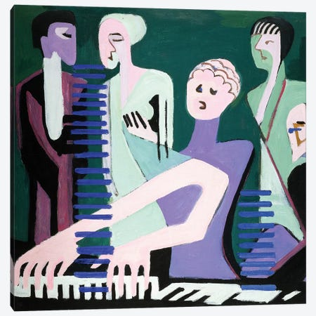Singer on piano  Canvas Print #BMN6064} by Ernst Ludwig Kirchner Canvas Artwork