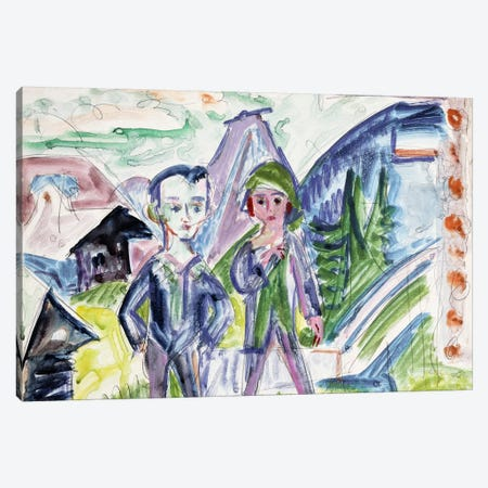 Couple in a Landscape  Canvas Print #BMN6076} by Ernst Ludwig Kirchner Canvas Print