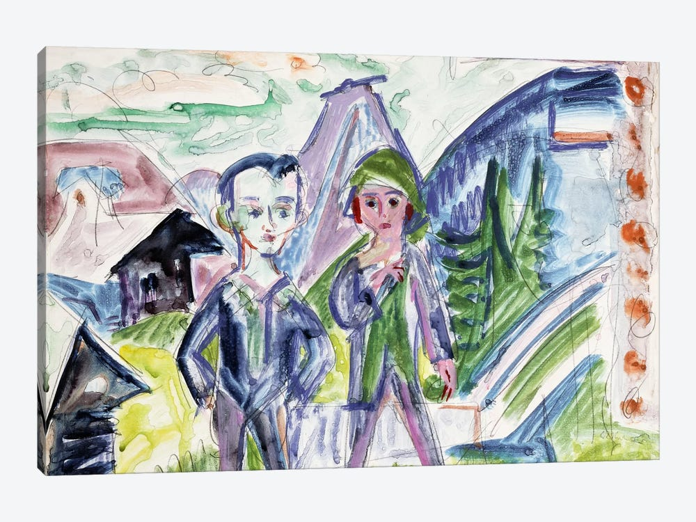 Couple in a Landscape  by Ernst Ludwig Kirchner 1-piece Canvas Art