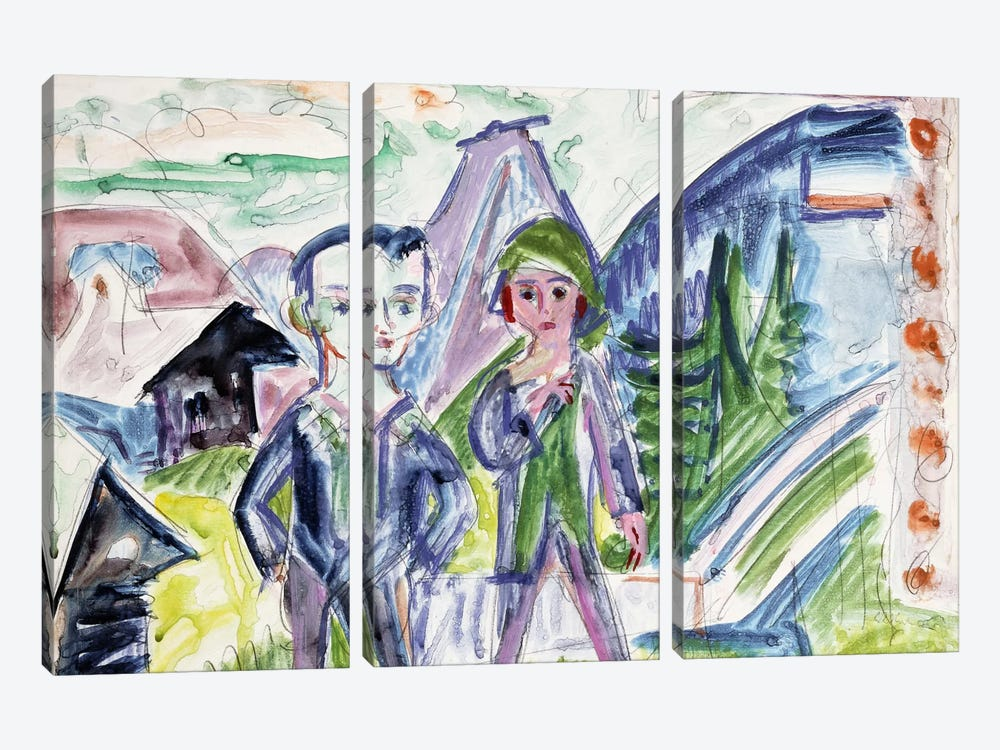Couple in a Landscape  by Ernst Ludwig Kirchner 3-piece Canvas Artwork