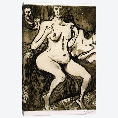Two Women, 1907  Canvas Print #BMN6079} by Ernst Ludwig Kirchner Canvas Art