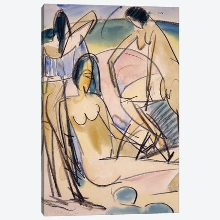 Bathers on the Shore, Fehmarn,  Canvas Print #BMN6083} by Ernst Ludwig Kirchner Art Print