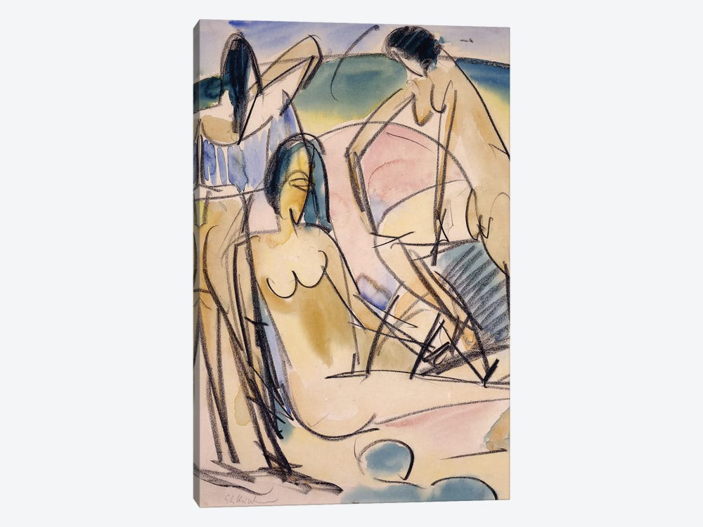 Bathers on the Shore, Fehmarn,  by Ernst Ludwig Kirchner 1-piece Canvas Art