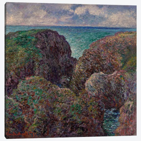 Block of Rocks at Port-Goulphar (Bloc de rochers à Port-Goulphar), 1887  Canvas Print #BMN6086} by Claude Monet Canvas Artwork