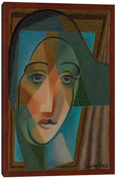 Head of a Harlequin, 1924 Canvas Art Print