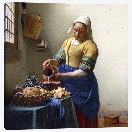 The Milkmaid Canvas Print #BMN6097} by Johannes Vermeer Canvas Art Print