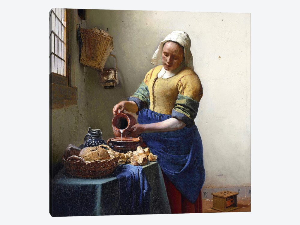 The Milkmaid by Johannes Vermeer 1-piece Canvas Art Print