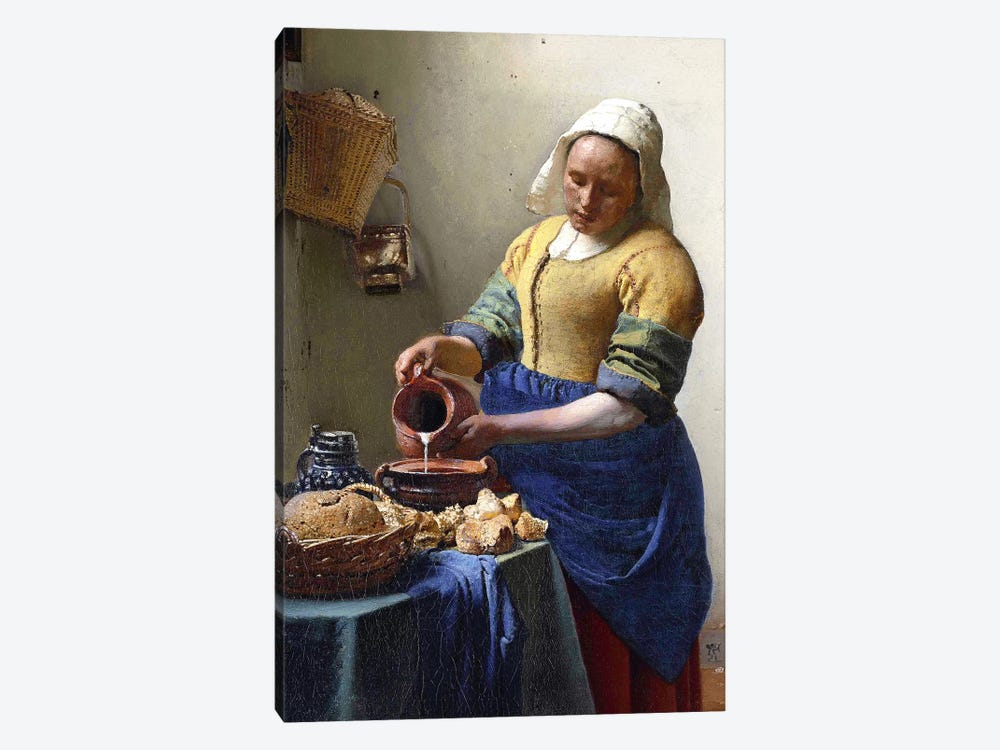The Milkmaid In Zoom by Johannes Vermeer 1-piece Canvas Art